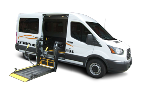 a New York Luxury Bus Charters branded accessible sprinter van