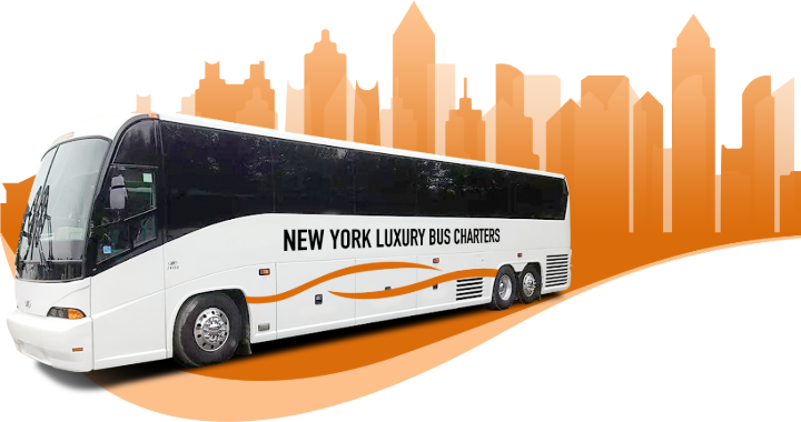 a NY Luxury Bus Charters branded charter bus in front of an illustrated skyline
